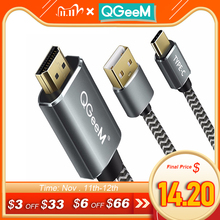 QGeeM USB Type c 3.1 HDMI Cable Thunderbolt Adapter For MacBook Samsung S8 Huawei Mate 10 Type C to HDMI Converter