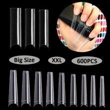 600 stücke XXL/240 stücke Falsche Nägel Tipps/Lange Halb Nail Tipps Box Stiletto Transparent Gefälschte Nägel Sarg natürliche Maniküre Kunst Acryl
