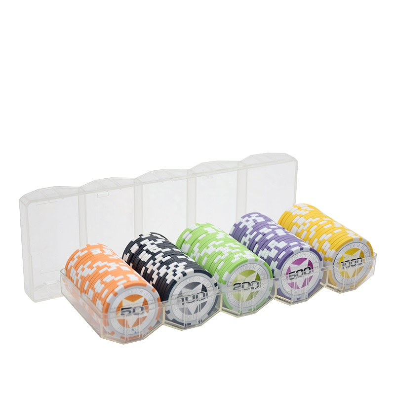 100 Pieces Of Chips+1 Acylic Chip Box 14g Clay Chips Set Metal Texas Hold'em Poker Chips Casino Coins Poker Club Accessories