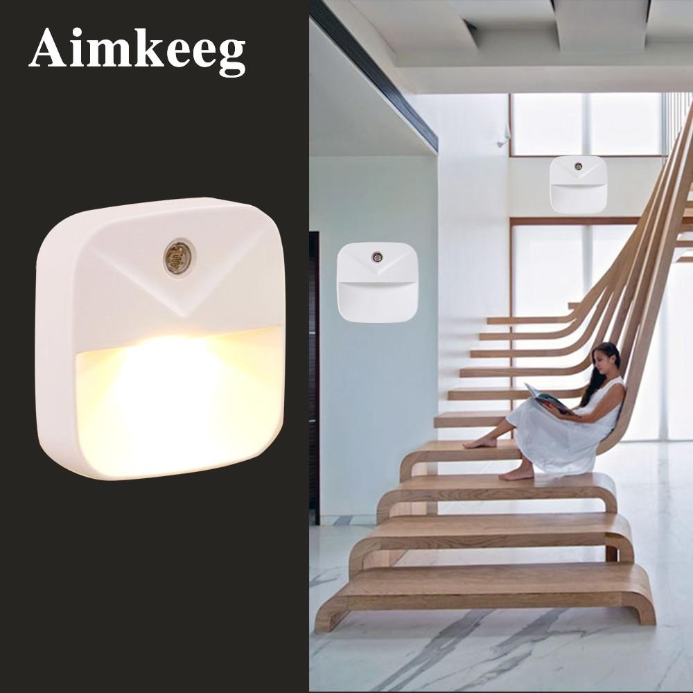 LED Night Light Mini Wireless Light Sensor Control Lamp US EU Plug Wall Lights For Children Kids Bedroom Living Stairs Lighting