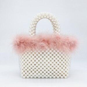 Image 2 - Bolsa de noite da pérola da pele do falso das mulheres mão tecido panelled frisado tote bolsas e bolsas feminino bonito bolsa de ombro jantar festa novo