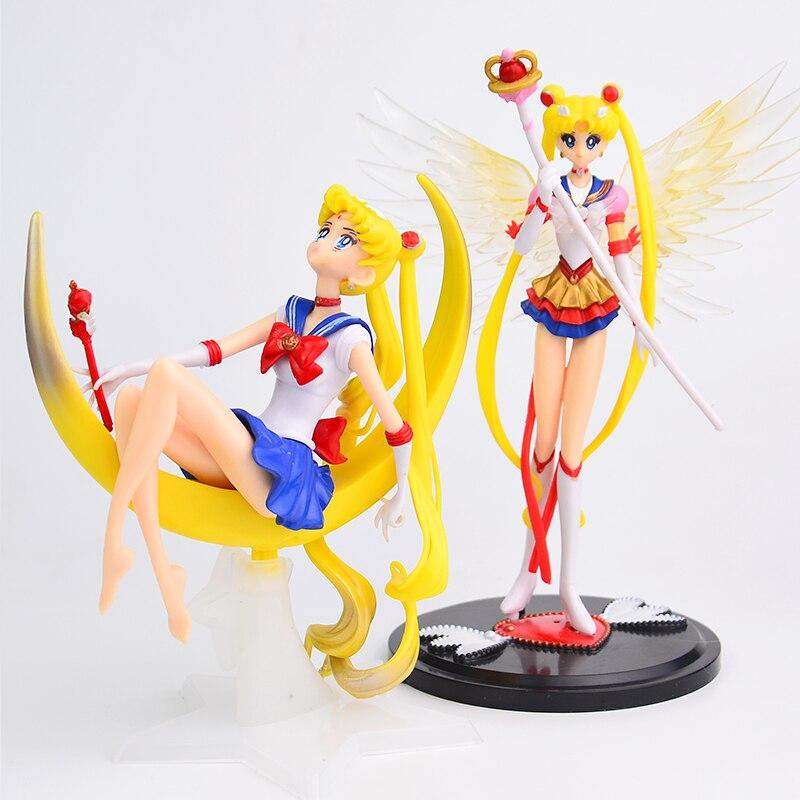 Desenhos animados anime sailor moon tsukino figura de ação asas brinquedo boneca bolo decoração coleção modelo meninas presente brinquedo para crianças