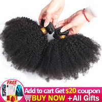Extensión de pelo rizado Afro, 1-2-3-4, oferta de extensiones de cabello humano Remy, Color Natural, 100%, 8-20 pulgadas