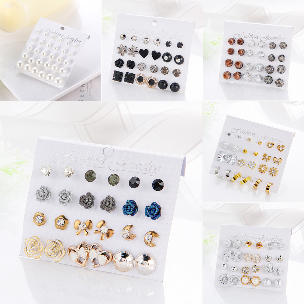 12 Pairs Card Mixed Style Stud Earring Set For Women Color Balls Love Flowers Earrings Women Imulated Pearl Earrings Jewelry