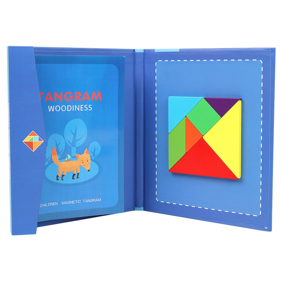 Children Wooden Magnetic Tangram Travel Game Educational Book For Kids Over 3 Age