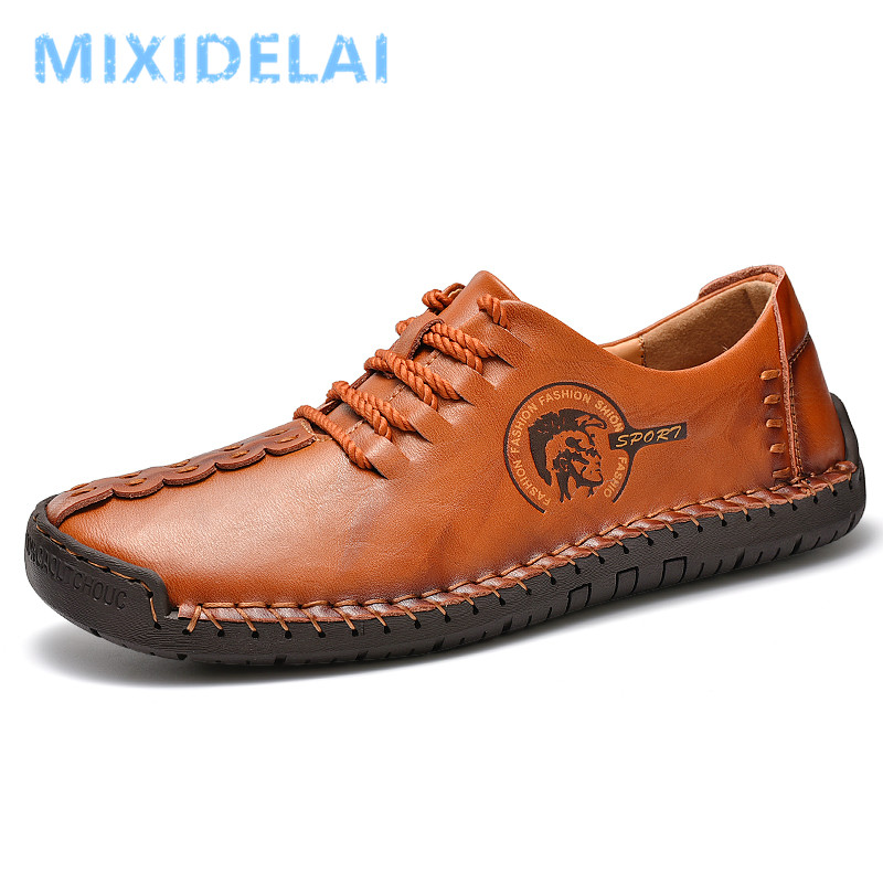 2020 New Spring Men's Shoes Lace-up Man Outdoor Casual Shoes Quality Split Leather Loafers Man Flats Shoes Moccasins Shoes 38-48