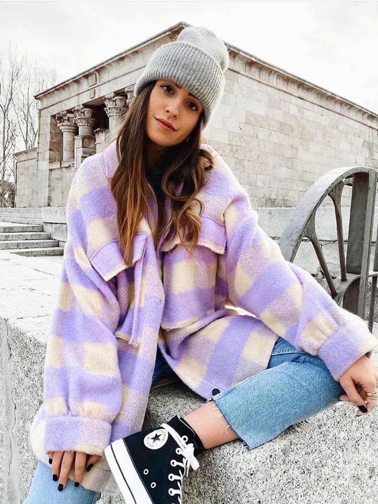 Stijlvolle Zoete Plaid Wollen Shirt Jassen Vrouwen Fashion Pockets Turn-Down Kraag Check Jas Leuke Meisjes Chic Jas Streetwear