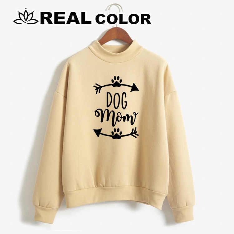 2019 כלב אמא נשים של סווטשירט לא כובע הדפסת אופי מזדמן בסוודרים חמוד קצר מעיל ארוך שרוול O-צוואר חולצה