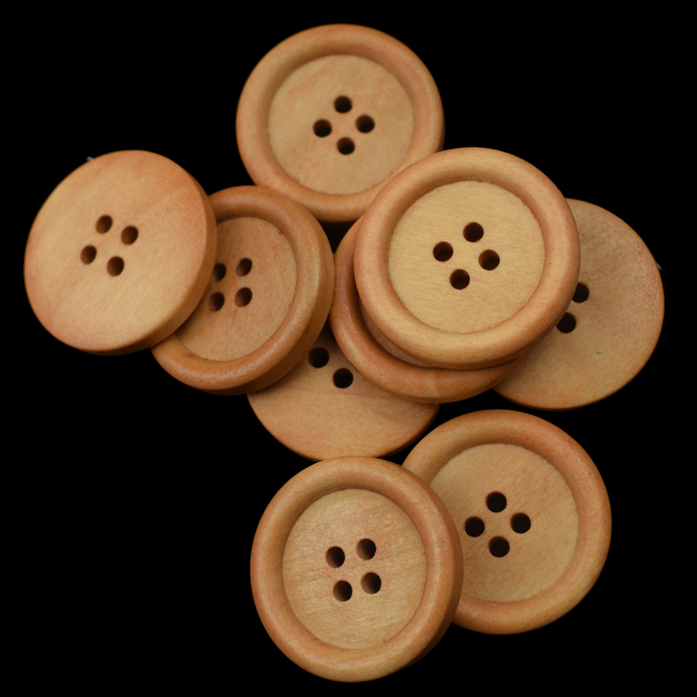 Sewing -UK Seller Crafting BROWN Scrapbooking 25 mm Round Wood Buttons