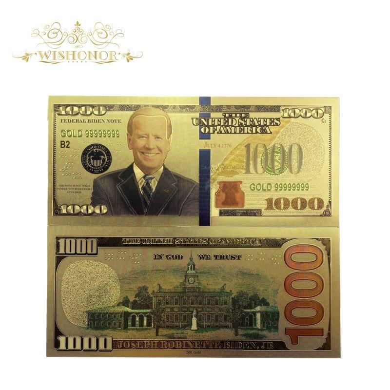 Yeni yıl 2021 10 adet/grup amerika başkanı Biden banknotlar 1,000 dolar banknot 24k altın kaplama sahte para iş hediye