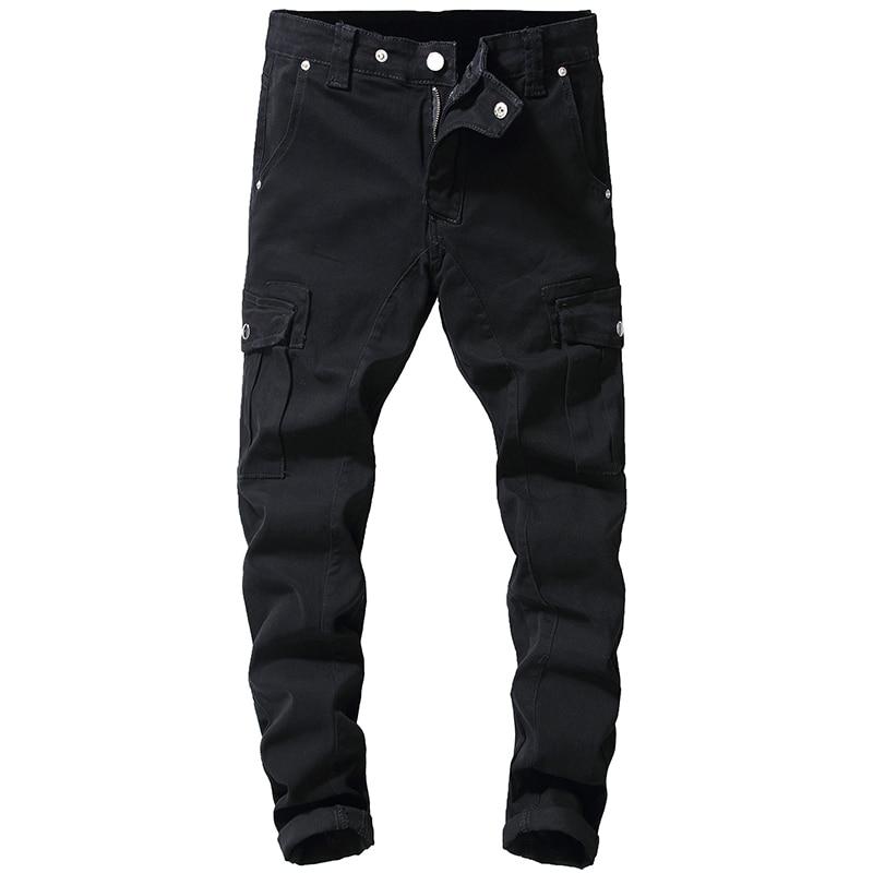 Sokotoo Men's Black Pockets Cargo Denim Jeans Slim Stretch Denim Pants