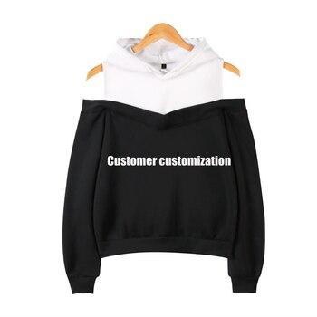 цена на Logo Custom Hoodie Women Letter Pattern Print off-shoulder Teens Girl Personalized Hoodie Sweatshirt  Costomized Gift Shirt