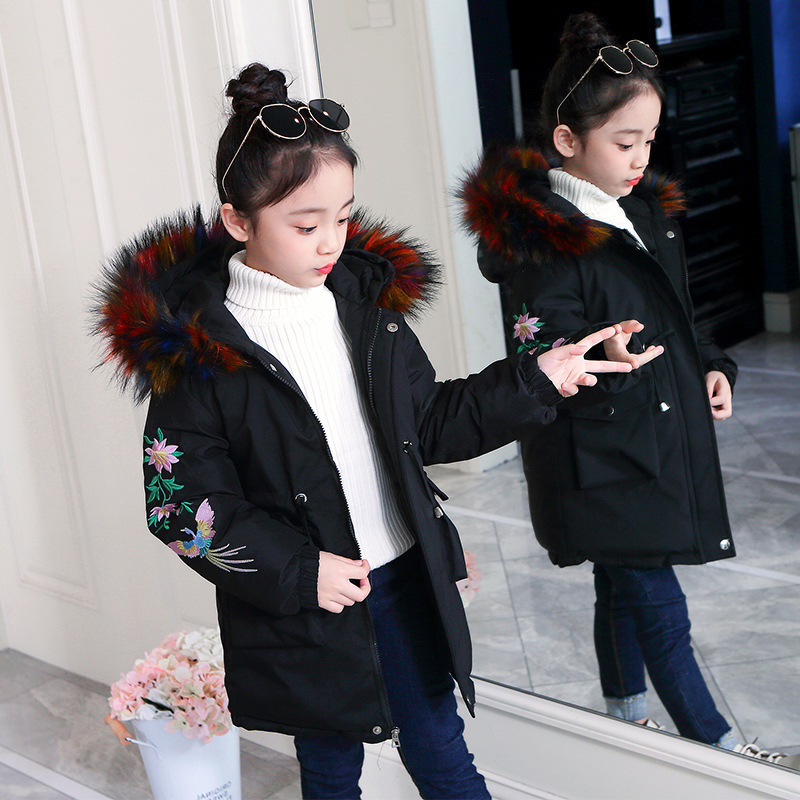 Kids Flower Embroidery Down-cotton Coat Autumn Winter Fine Waistline Boutique Hooded Jackets Children 3-12 Teenagers Outerwear image