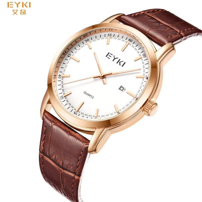 EYKI 1151 Luxury Quartz Watch Men Women Casual Wristwatch Lovers Watches Leather Watchband Clock Male  Relogio Masculi 2019 News