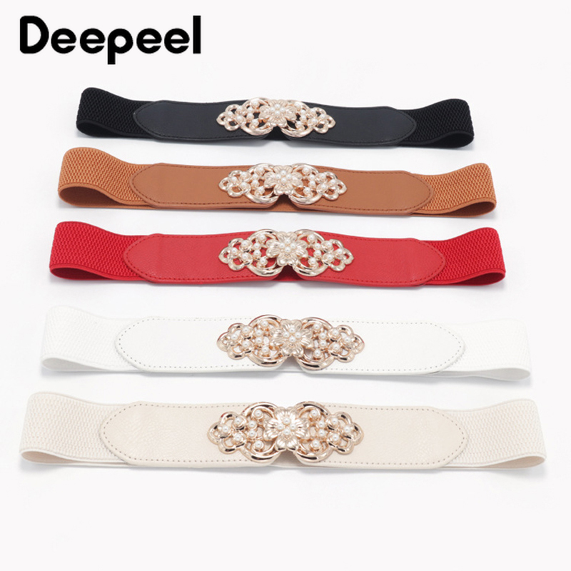 Deepeel 1pc 4cm*66cm Fashion Flower Elastic Pearl Decora Cummerbunds Wide Belts Buckles Stretch Band Coat Accessories Belt CB044