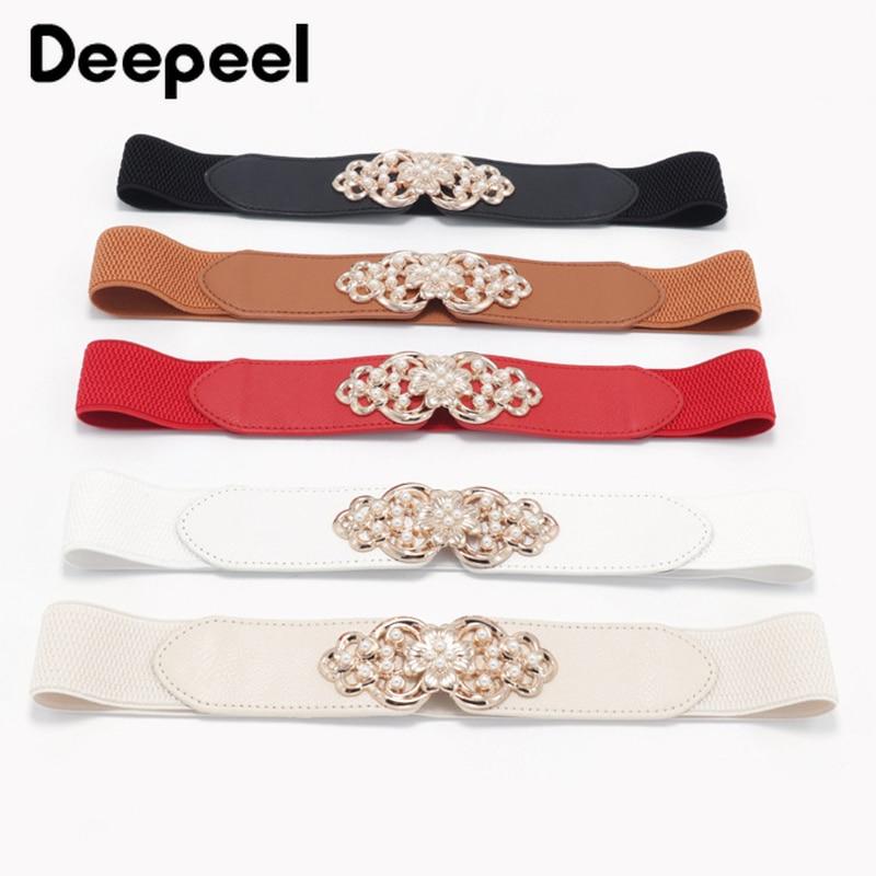 Deepeel 1pc 4cm*66cm Fashion Flower Elastic Pearl Decora Cummerbunds Wide Belts Buckles Stretch Band Coat Accessories Belt CB044