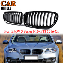 цена на MagicKit 1 Pair Gloss Black Front Hood Bumper Kidney Grill For BMW F18 F10 F11 5 Series 2016-On Accessories Styling Racing Grill