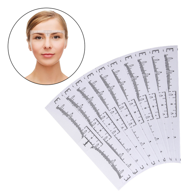 50PCS Disposable Eyebrow Ruler Sticker Tape Eyebrow Modeling Stencils for Makeup Tool Tattoo Supplies Accessories