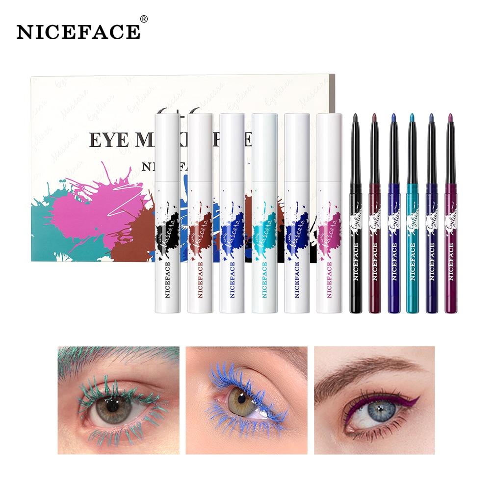 Набор из 6 цветов туши для ресниц и подводки для глаз, длинная завивка, водостойкая и устойчивая к поту, без пятен, красивые косметические инс...