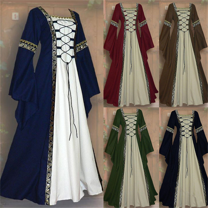 New Halloween Medieval Cosplay Costumes For Women Middle Ages Dress Gothic Retro Victoria Long Sleeve Carnival Dresses S-5XL