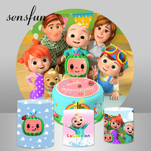 Sensfun Round Circle Photography Backgrounds Cake Cocomelon Family Kids Birthday Party Backdrops For Photo Studio Custom Banner