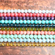 Natural jewelry 4 / 6 / 8 / 10/12 mm sea blue treasure Loose beads series suitable for DIY bracelet necklace accessories