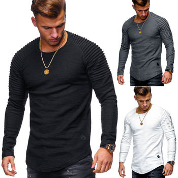 Men's Round Neck Slim Solid Color Long Sleeve T-shirt Striped Pleated Raglan Sleeve T-shirt for Men stylish camouflage round neck long sleeve t shirt for men