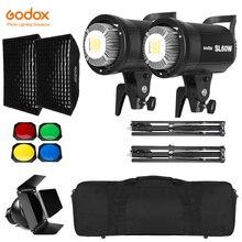 2x Godox SL 60W 60Ws 5600K Studio LED Continue Foto Video Light + 2x1.8 m Light Stand + 2x60x90 cm Softbox LED Light Kit