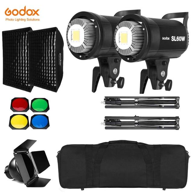 2x Godox SL 60W 60Ws 5600K Studio LED Continuous Photo Video Light + 2x 1.8m Light Stand + 2x 60x90cm Softbox LED Light Kit