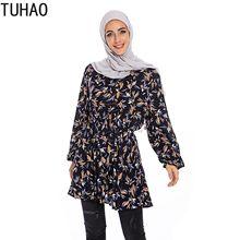TUHAO Spring Autumn Women Muslim Clothing Long Sleeve Print Shirts Blouse for Woman Pakistan Blouse Split Hem Tops Blouses WM78