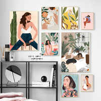 Abstract Fashion Vintage Girl illustration Wall Art Canvas Painting Nordic Posters And Prints Wall Picture For Living Room Decor