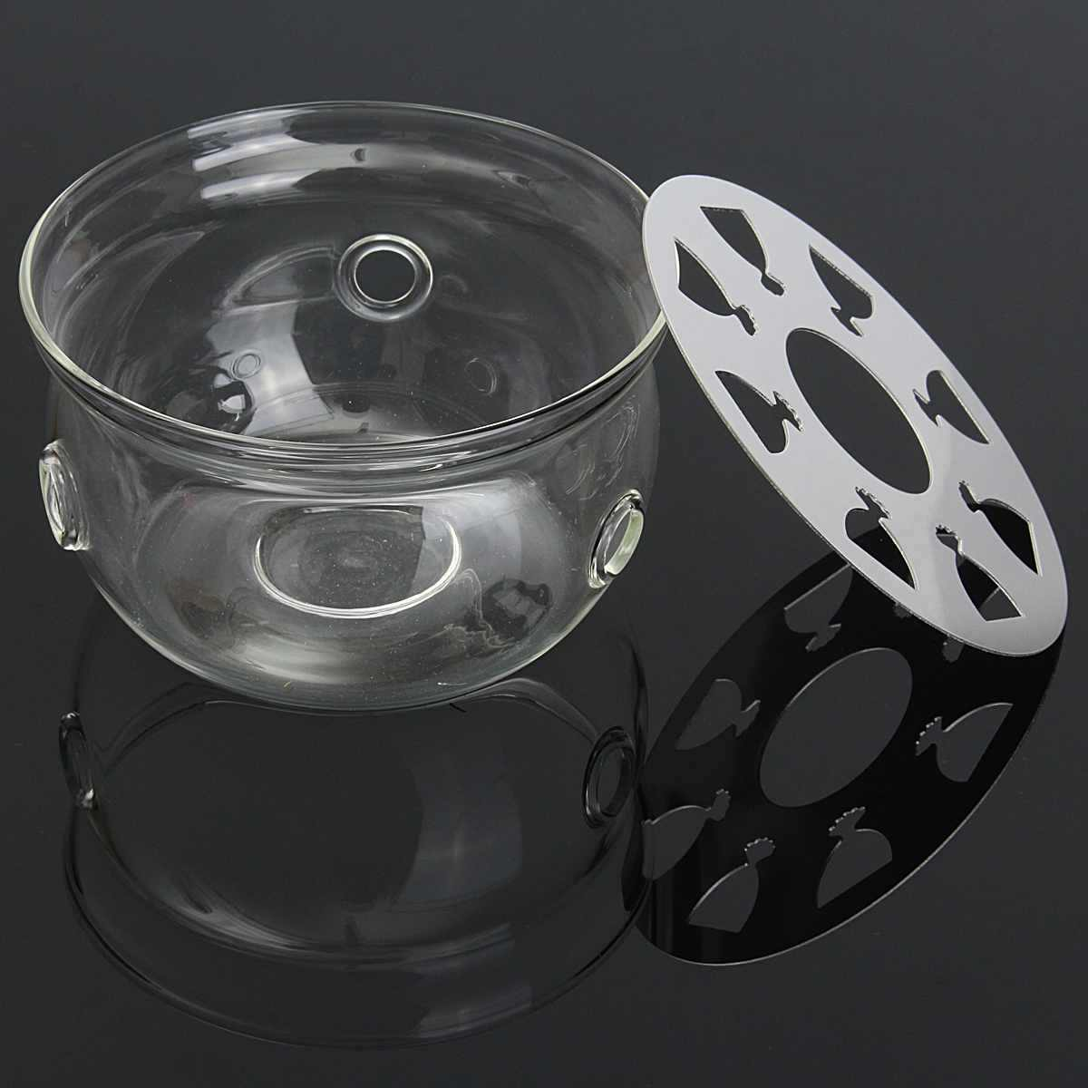 New 1pc Portable Clear Teapot Holder Base Coffee Water Tea Warmer Candle Holder Glass Heat-Resisting Teapot Warmer Insulation Ba