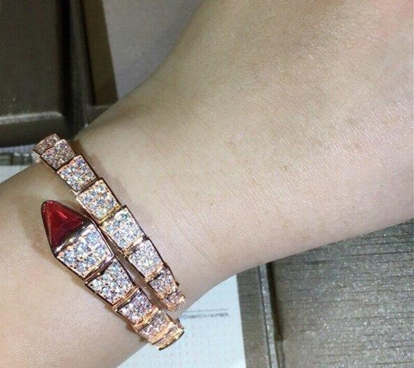 Conception de mode bijoux de fête en argent Sterling serpent Bracelet en or Rose rouge Cz extensible serpent forme Bracelet célèbre marque bijoux