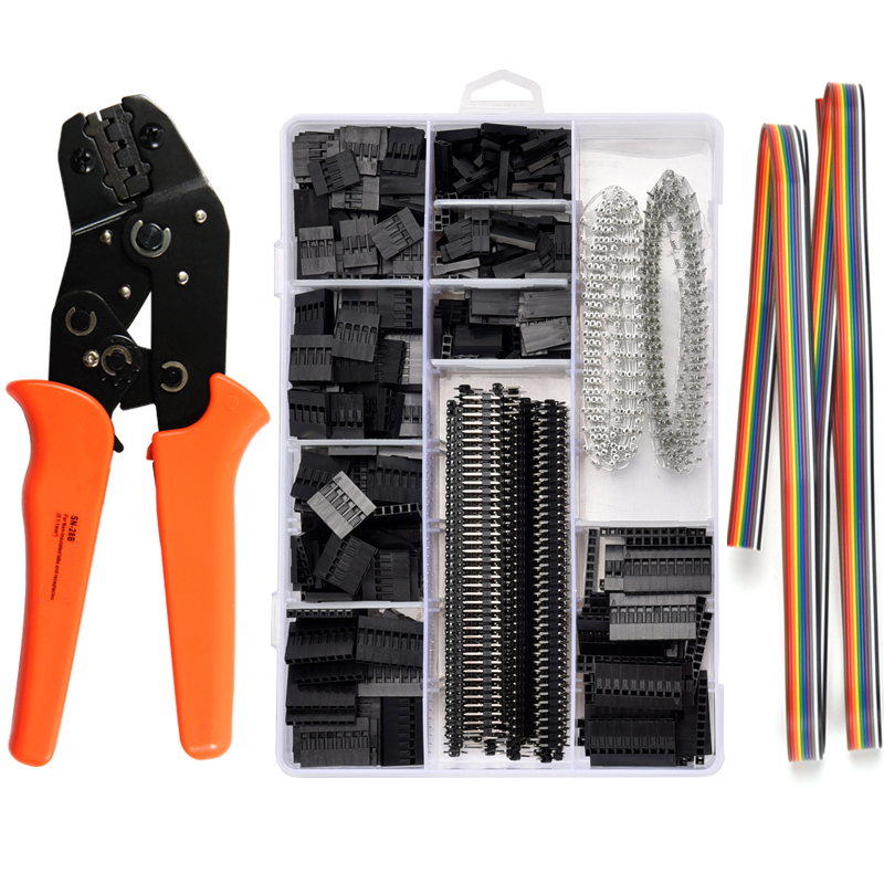 SN-28B+1550Pcs dupont crimping tool pliers terminal ferrule crimper wire hand tool set terminals clamp kit tool(China)
