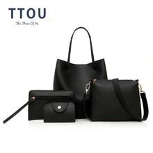 TTOU Fashion 4pcs/set Women Handbag Quality Leather Female Shoulder Bags Ladies' Messenger Crossbody Composite Bag Bolso Mujer