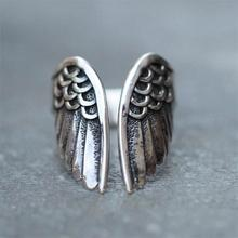 Vintage Angel Wings Ring Silver Color Wedding Rings for Women Fashion Rings Statement Boho Jewelry Gifts simple style fashion feather wings couple ring punk biker jewelry silver black colors vintage rings for men women