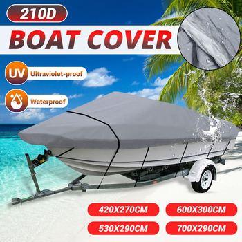 11-22Ft 210D Heavy Duty Trailerable Grey Barco Boat Cover Fishing Ski Waterproof Anti-UV Sunproof Marine Boat Protective Canvas