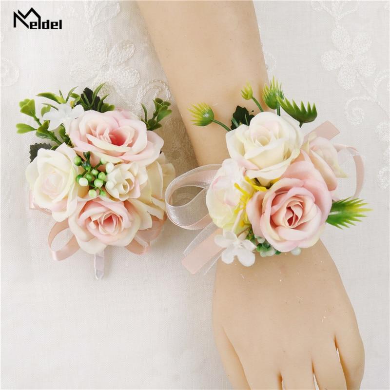 Meldel Wedding Wrist Corsage Bridesmaids Bracelet Silk Flower Wrist Corsage Bracelets Wedding Hand Flowers Boutonniere Groomsmen