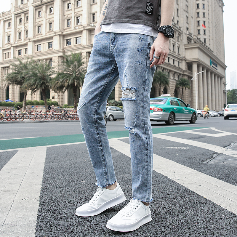 2019 New Hole Jeans Men Ripped Distressed Blue Korean Fashion Casual Slim Fit Homme Denim Trousers Ankle-length Pants Plus Size