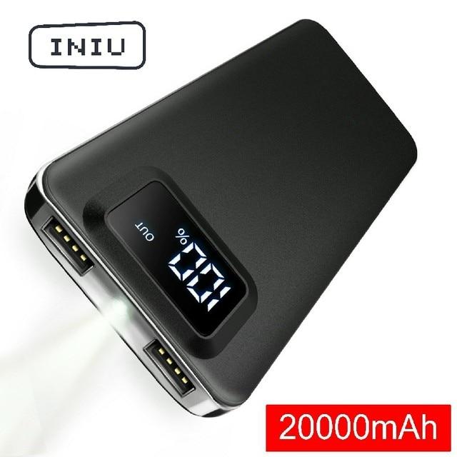 INIU 20000mAh 2.4A power Bank 2 USB светодиодный дисплей портативное зарядное устройство power bank для Xiaomi Mi телефона внешний аккумулятор