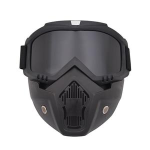 Image 3 - Защитная маска Ретро ветрозащитная Полнолицевая маска для работы на внедорожном шлеме с очками Пылезащитная Противоударная искусственная маска