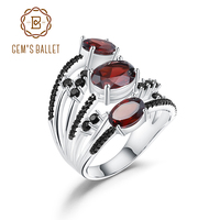 GEM'S BALLET 925 Sterling Silver Stackable Three Stone Ring 4.0Ct Natural Red Garnet Birthstone Rings For Women Fine Jewelry