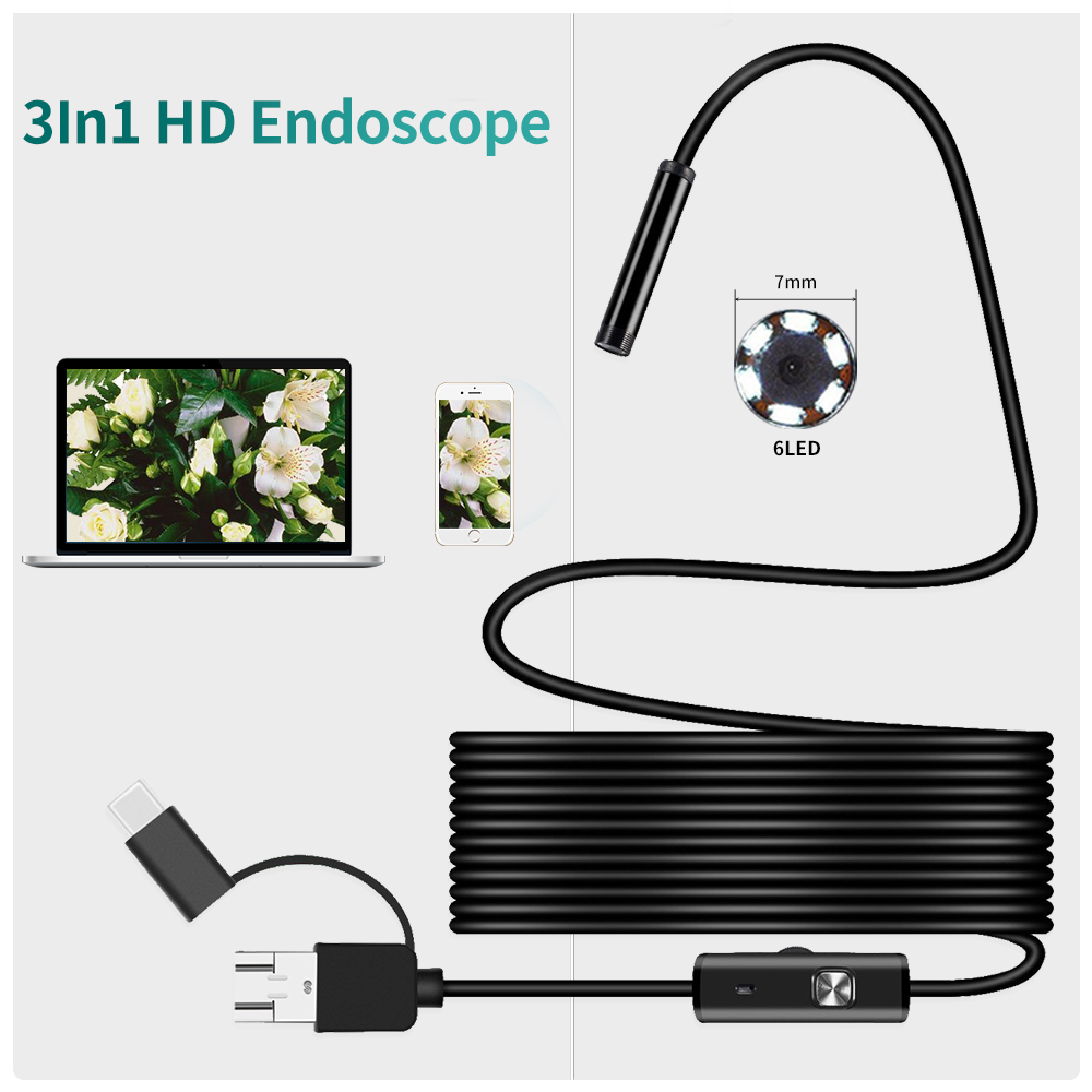 Type-c Android USB Endoscope Camera 7.0mm Hard Cable PC Android Phone Endoscope Pipe Type C Endoscope Inspection Mini Camera 6