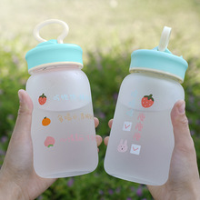 460ml Cartoon Bear Rabbit Transparent Drink Cups Portable Frosted Glass Cup Drinkware Creative Lover