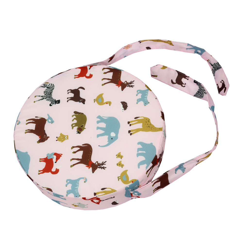 Dismountable Kids Animal Printed Washable Chair Cushion Home Heightening Dining Booster Seats Round Shape Decoration With Strap