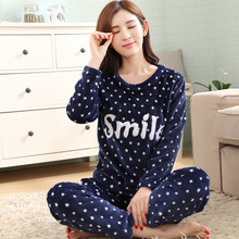 Flannel pajamas woman 2019 New Star letters Sleepwear Suit lady Sweet long-sleeved warm thick Home christmas women