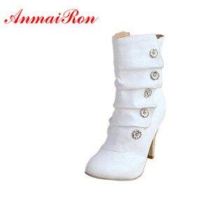 Image 1 - ANMAIRON على بيع Winther جديد مثير نمط عالية الكعب بولي PU منتصف العجل أحذية السيدات جميل موضة أحذية ثلج ألوان امرأة أحذية بوت قصيرة