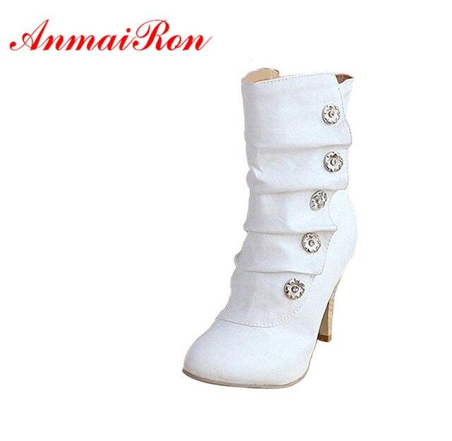 ANMAIRON على بيع Winther جديد مثير نمط عالية الكعب بولي PU منتصف العجل أحذية السيدات جميل موضة أحذية ثلج ألوان امرأة أحذية بوت قصيرة