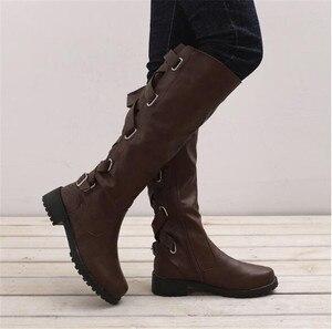 Image 4 - MORAZORA 2020 big size 43 women knee high boots zip buckle autumn winter boots square heels comfortable casual shoes ladies