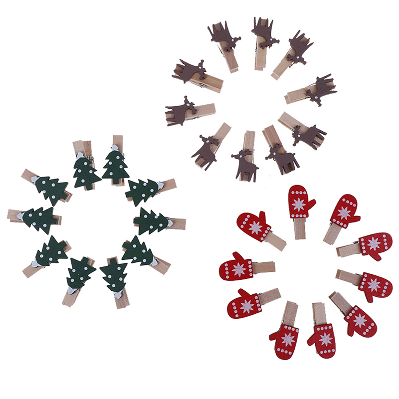 10Pcs  Red Christmas Santa Claus Wood Clips Mini Wooden Photo Paper Peg Pin